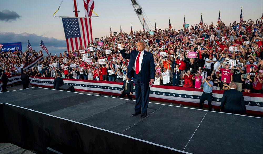 The President's voice was hoarse at his airport rally on Monday in Sanford, Fla.