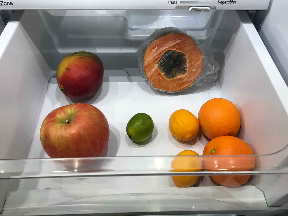 My really anemic fruit drawer.