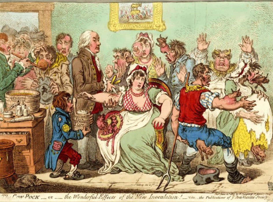 """An 1802 engraving entitled """"The Cow Pack–or–the Wonderful Effects of the New Innoculation"""""""