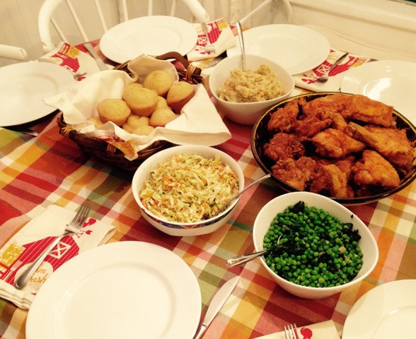 Thelma's fried chicken with peas and mashed potatoes. (Couldn't forget the cole slaw and cornbread!)