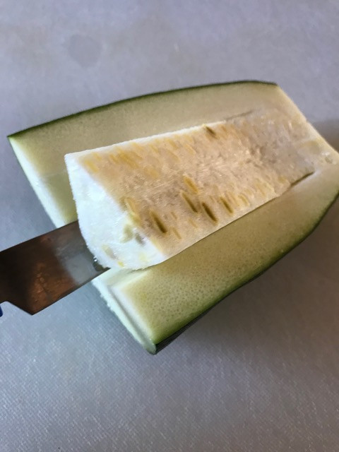 Make a V-cut to scoop out the flesh