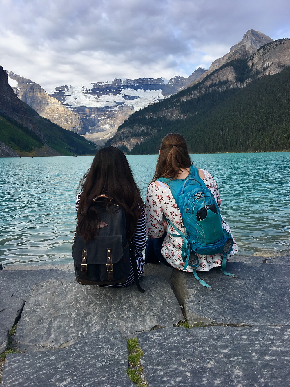 Lake Louise in Alberta, Canada, with a childhood friend