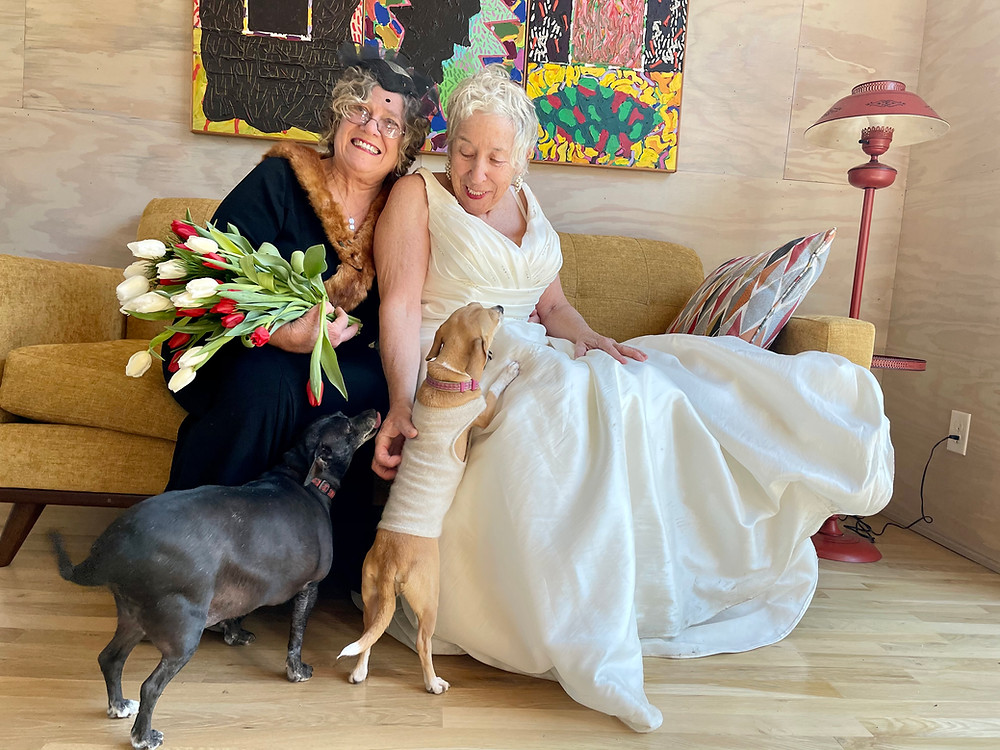 Carmela (l) and Jane (r) with their dogs, Sweetie and Coco