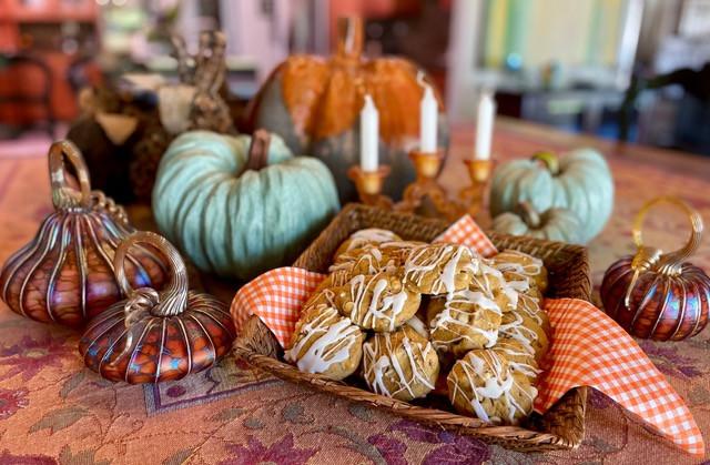 Cake-like pumpkin cookies with vanilla icing