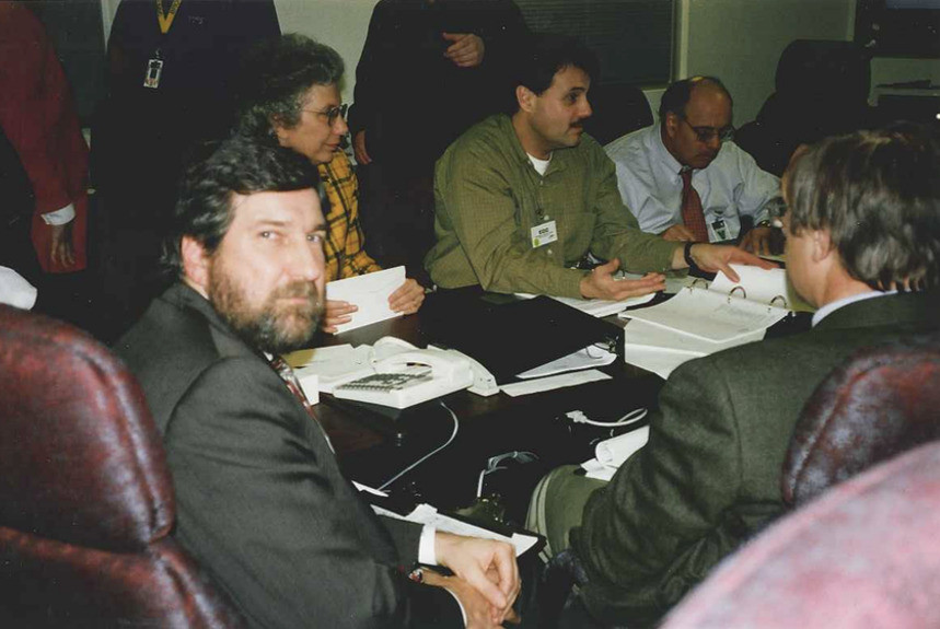The author at the Broward County Canvassing Board during the November, 2000 Florida recount