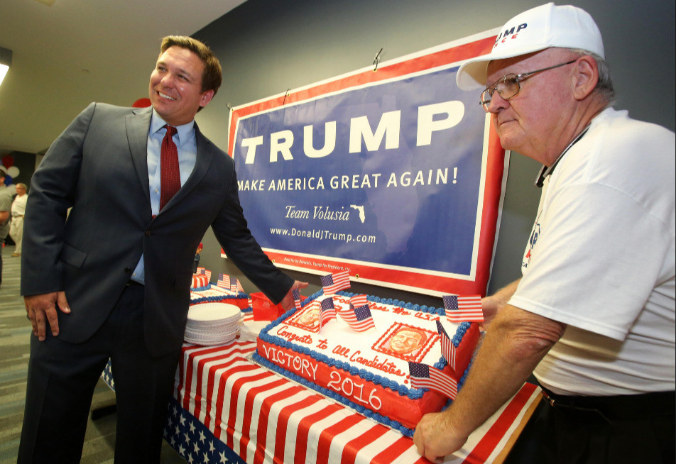 DeSantis continues to march in lockstep with Donald Trump, as the Florida governor's own poll numbers plunge