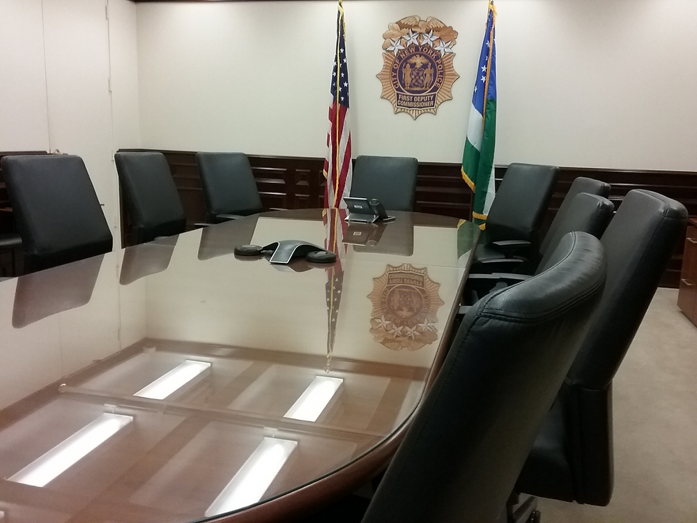 "The conference room at One Police Plaza where a ""blue wall"" bureaucracy smothered our proposals."