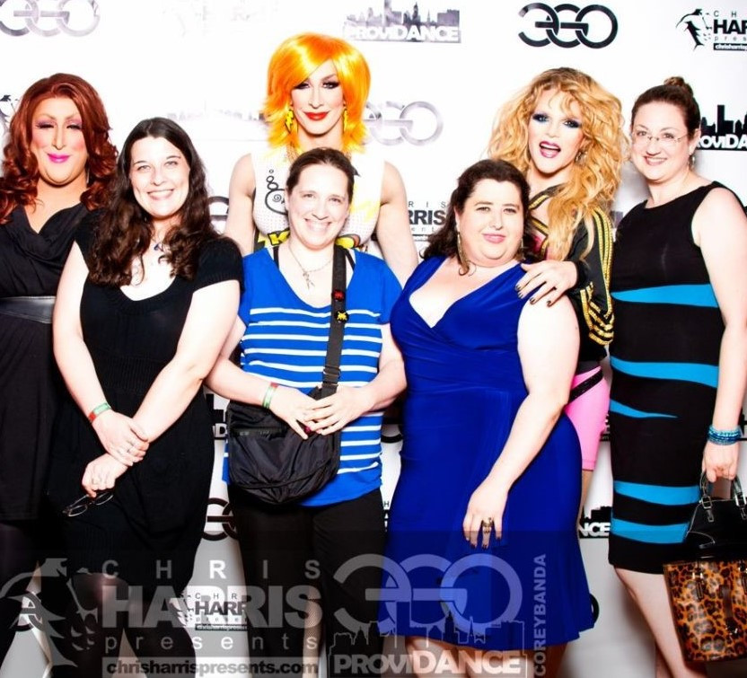 Vicky Vox, Detox and Willam with the author and friends at Ego