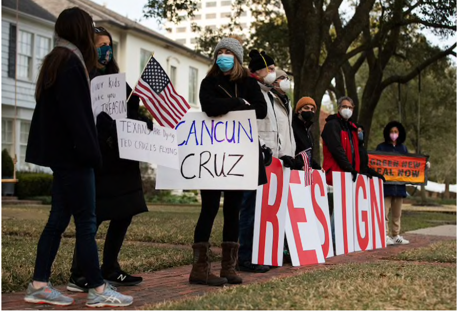 A Texas-Sized Scandal: Demonstrators quickly ringed the Cruz home