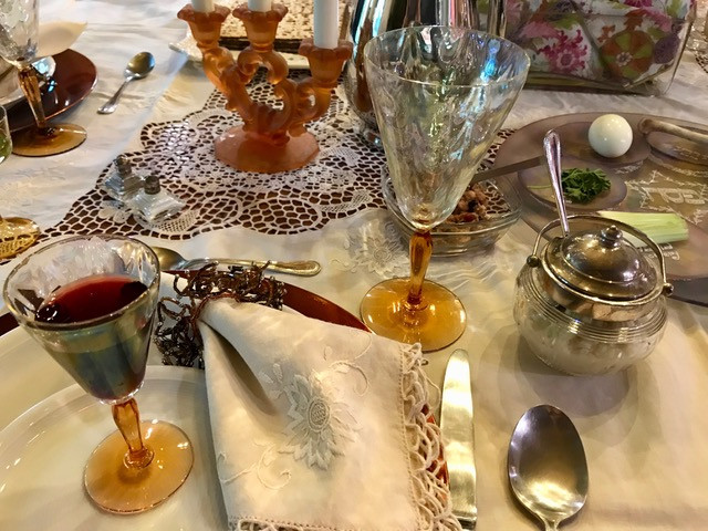 Nancy set a gorgeous table for the Passover Seder, using linens, china, and glassware collected over the years.