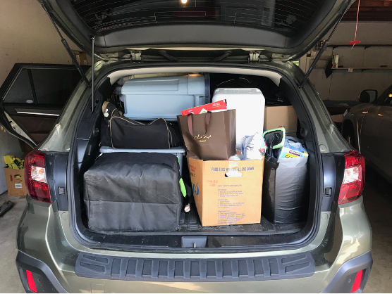 Car fully packed and ready to go!