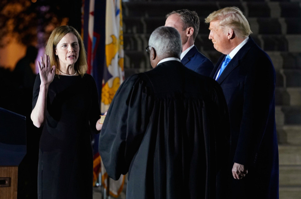 By dark of night, Justice Thomas swore in Amy Coney Barrett on October 26, 2020 in the Rose Garden