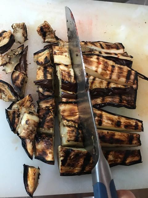 "Cut eggplant into 1"" chunks."