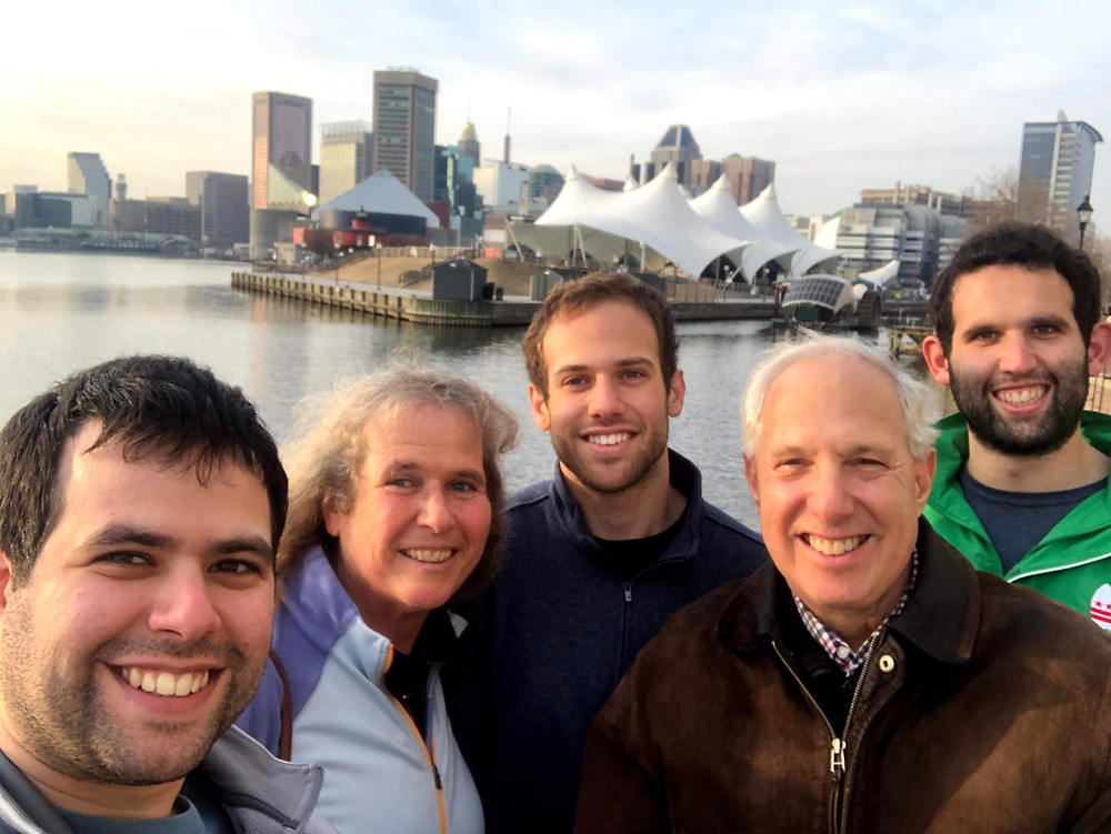 A pre-pandemic Bikoff family outing in Baltimore Harbor in 2019 (from L to R): Matt, Sue, Jon, Russell and Ben