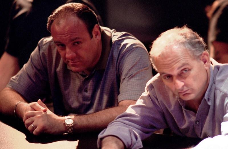 James Gandolfini and David Chase on the set of The Sopranos (2006)