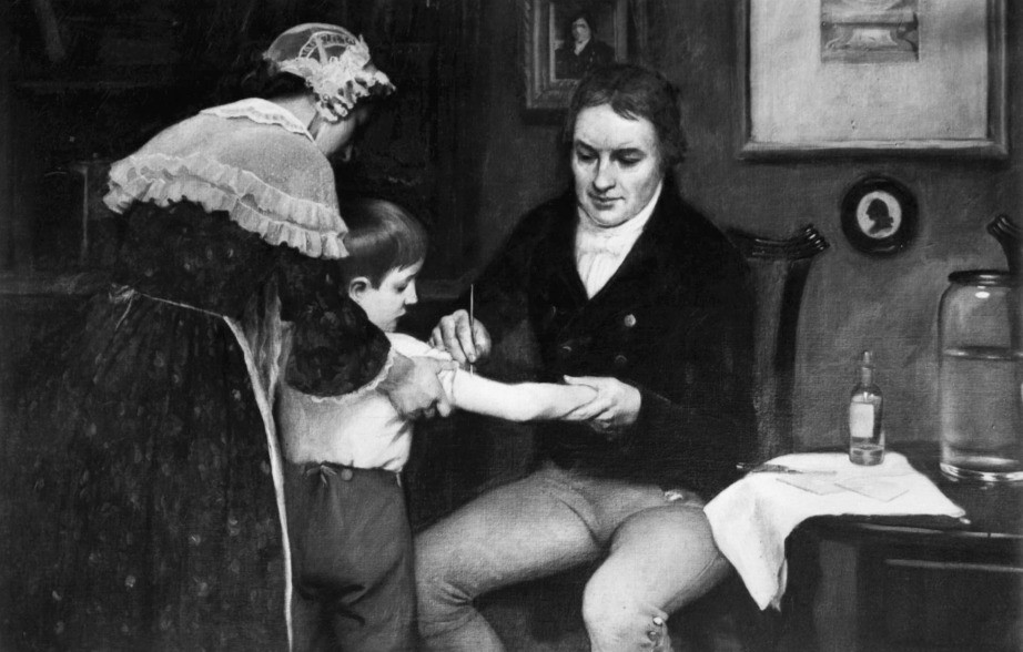 Dr. Edward Jenner, the father of the modern vaccine, giving the first smallpox vaccination in 1796