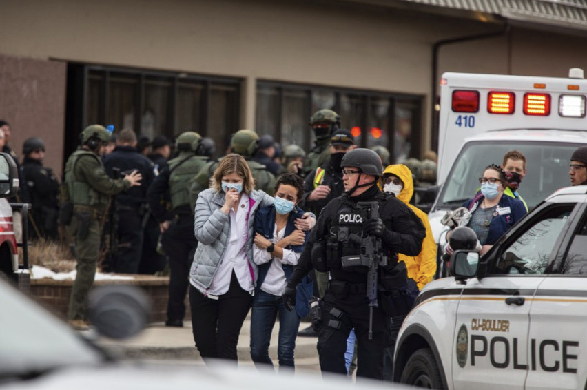 The scene outside of King Soopers supermarket in Boulder, Colo. after a massacre on March 22