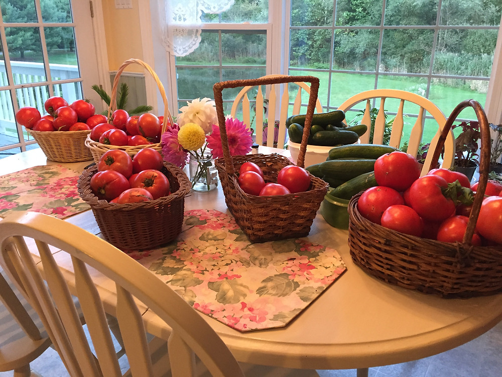 In summertime, the kitchen table here is often laden with goodies to be processed