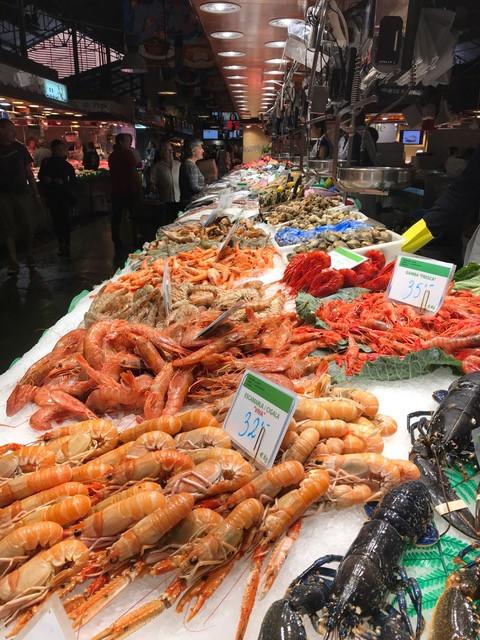 Assorted seafoods in Mercado de la Boquiera, Barcelona Spain