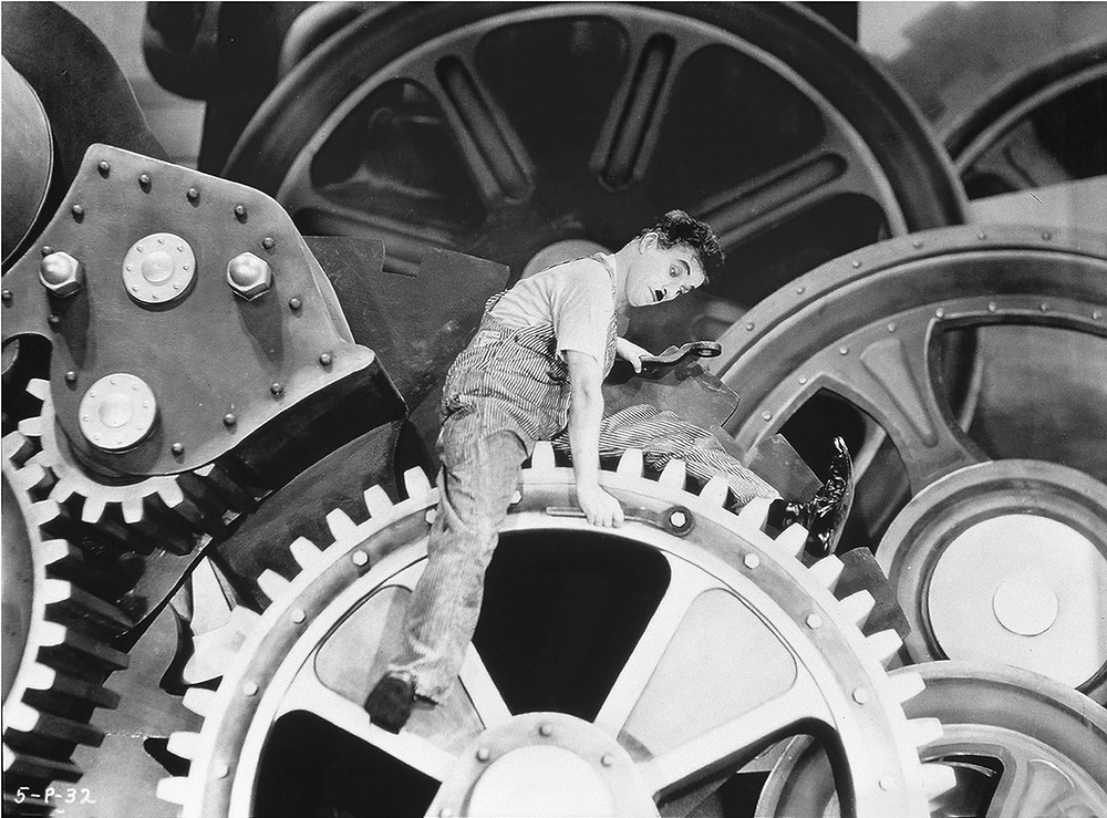 Charlie Chaplin at work in Modern Times