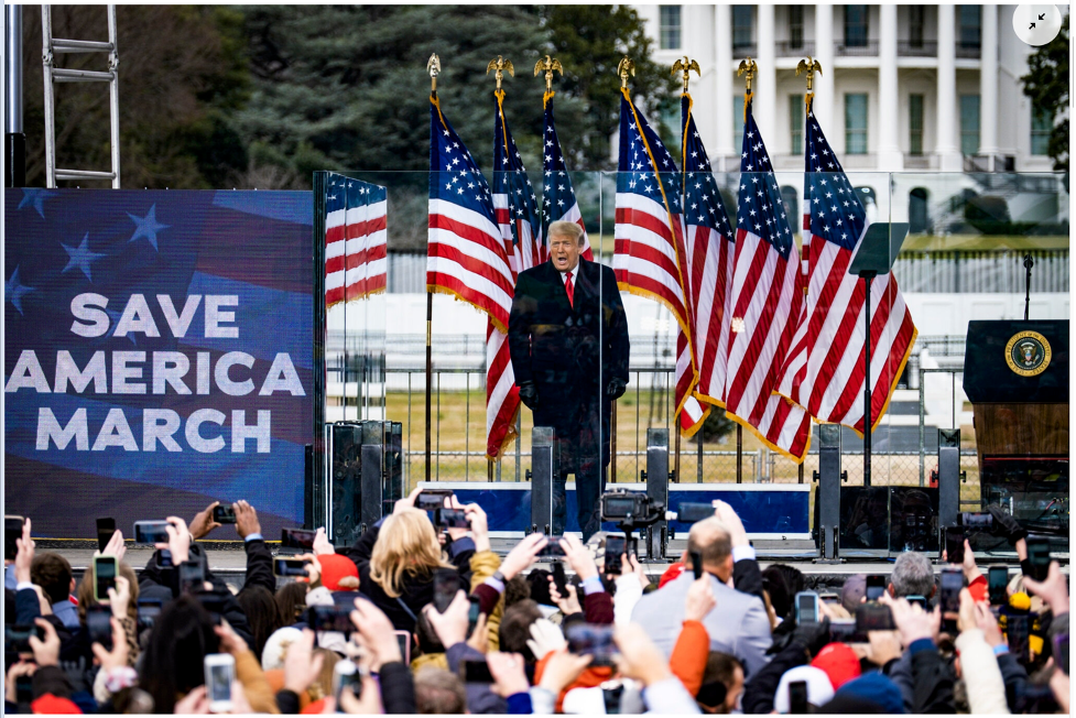 Trump rallying the crowd at the Ellipse on January 6