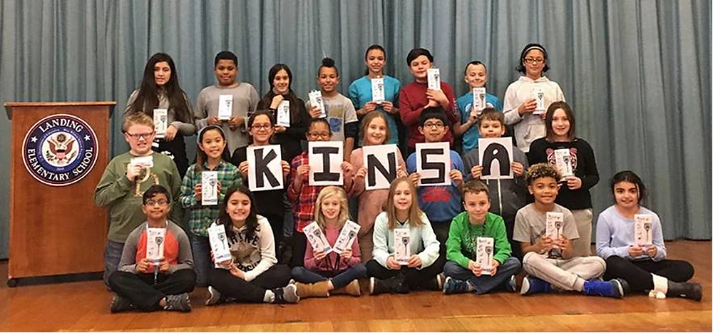 Elementary school students In Glen Cove, New York receiving their Kinsa Smart Thermometers