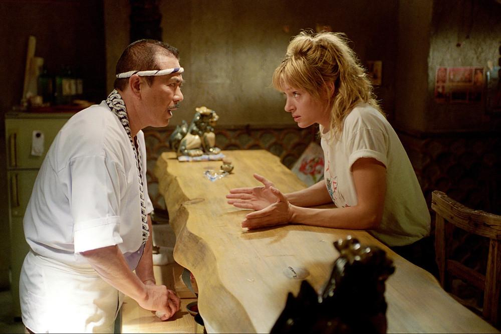 Sonny Chiba and Uma Thurman in Kill Bill Vol. 1 (2003)