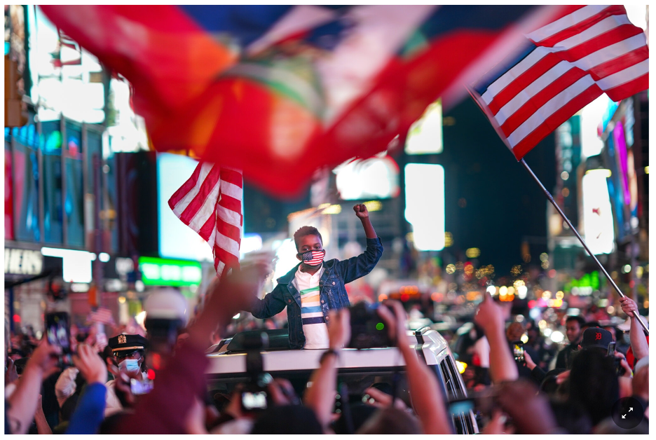Thousands of people celebrate Biden's win in Times Square