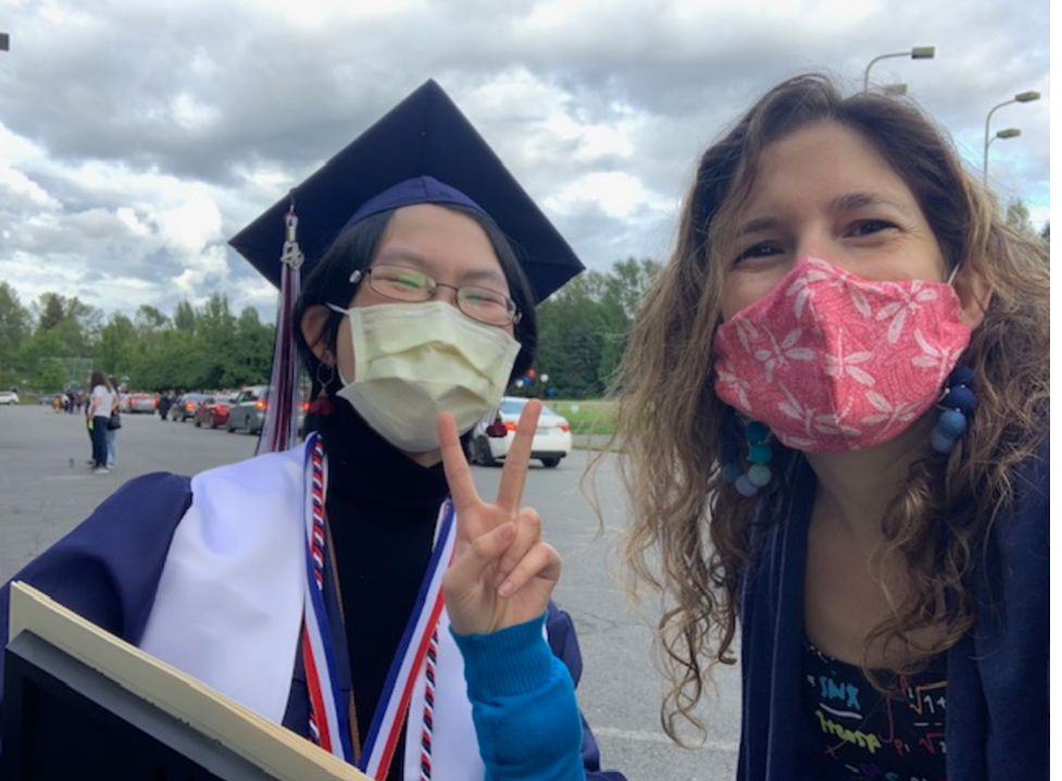 Me with a graduating senior at our drive-through graduation (June, 2020)