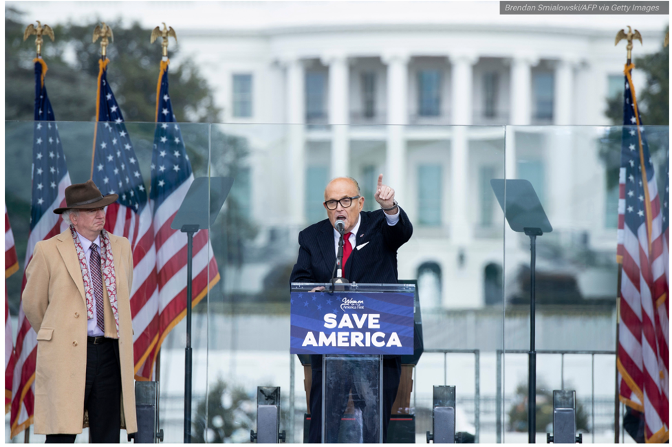 Rudy Giuliani, calling for trial by combat at the rally on the Ellipse on January 6, 2021