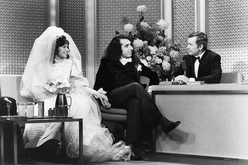 Tiny Tim and Miss Vicki are interviewed by Johnny Carson after their wedding on The Tonight Show in 1969