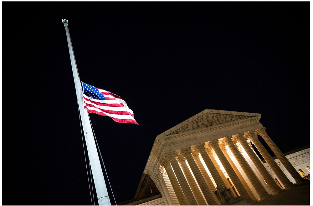 The flag flying at half-mast this week at the U.S. Supreme Court in honor of Ginsburg's passing