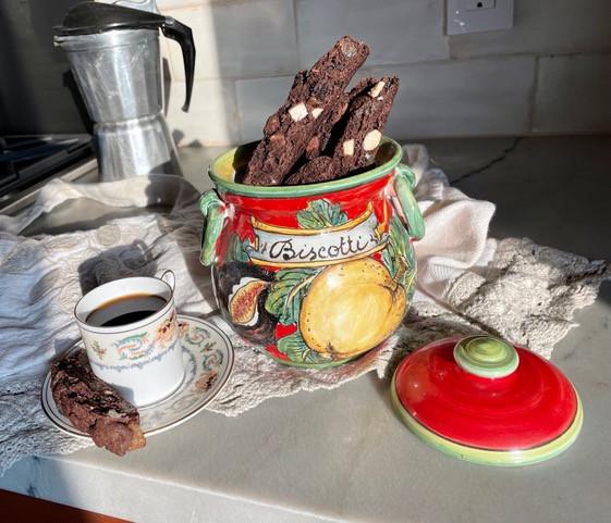 Cappuccino Biscotti in a handmade Tuscan jar