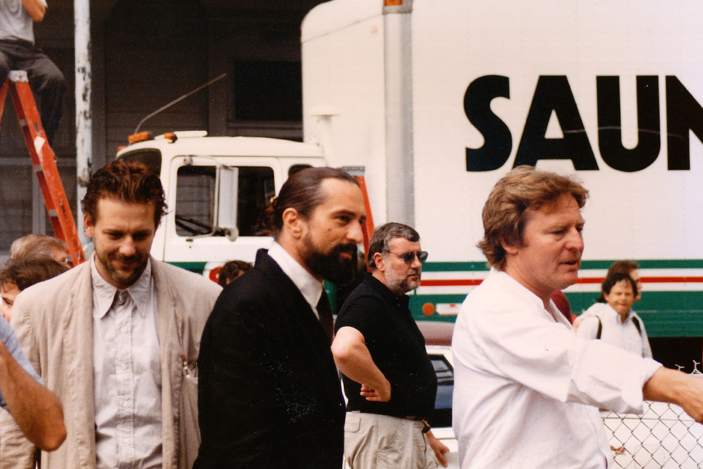 Alan Parker, Robert De Niro and Mickey Rourke on the set of Angel Heart