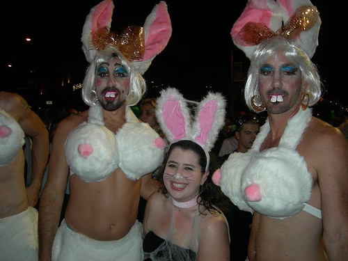 The author and some fellow Bunnies at West Hollywood's Halloween parade