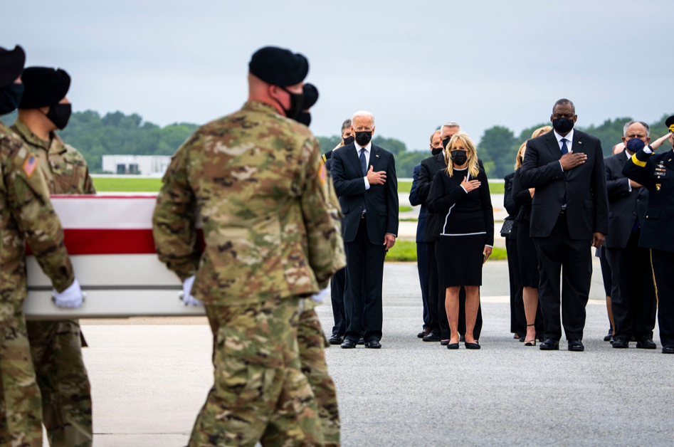 Presdent Biden and the First Lady at Dover Air Force Base on Sunday for the dignified transfer of the service members killed at the Kabul Airport