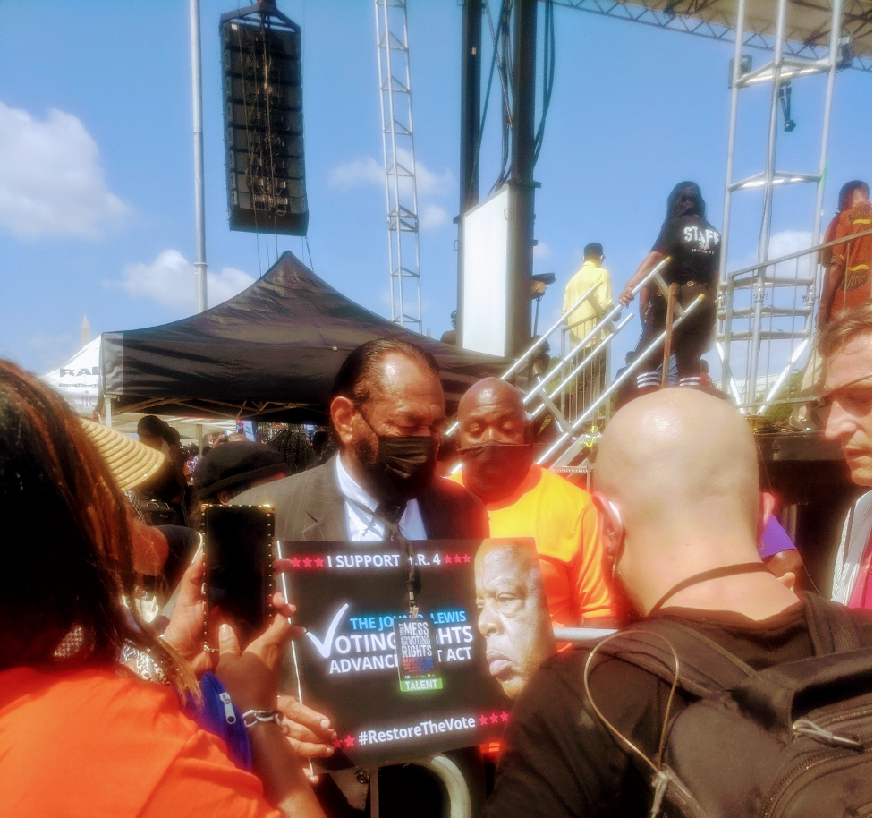 Congressman Al Green (D-Tex) honors John Lewis in backstage remarks to the press