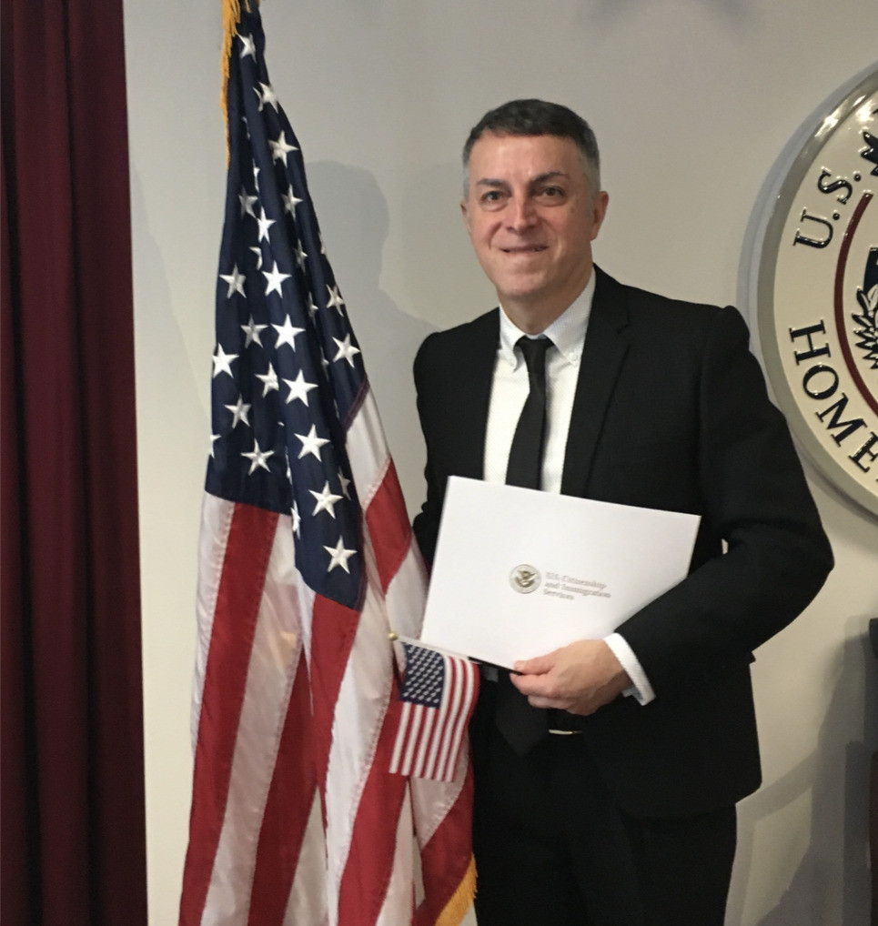 The author at his naturalization ceremony in New York City three years ago
