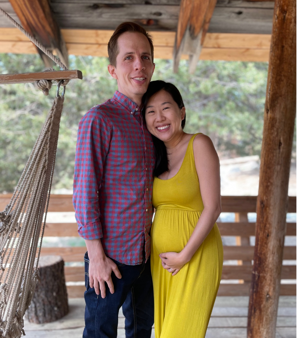 The author and his wife, Karen Huynh, at nearly five months