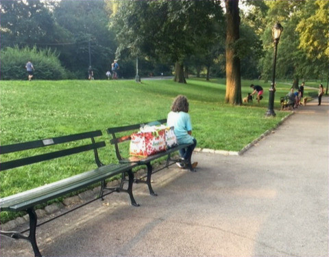 A meditative Marge pauses for a moment in Central Park