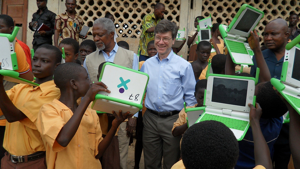 Jeffrey Sachs in Ghana with the former Secretary-General of the United Nations, Kofi Annan, 2010