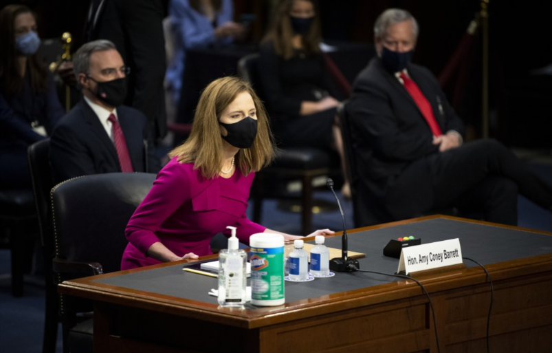 Amy Coney Barrett at her confirmation hearing to fill Ruth Bader Ginsburg's Supreme Court seat