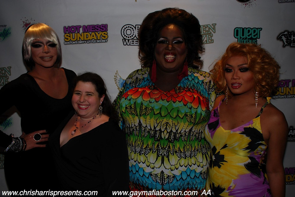 Raven, the author,  Latrice Royale and Jujubee at Royale