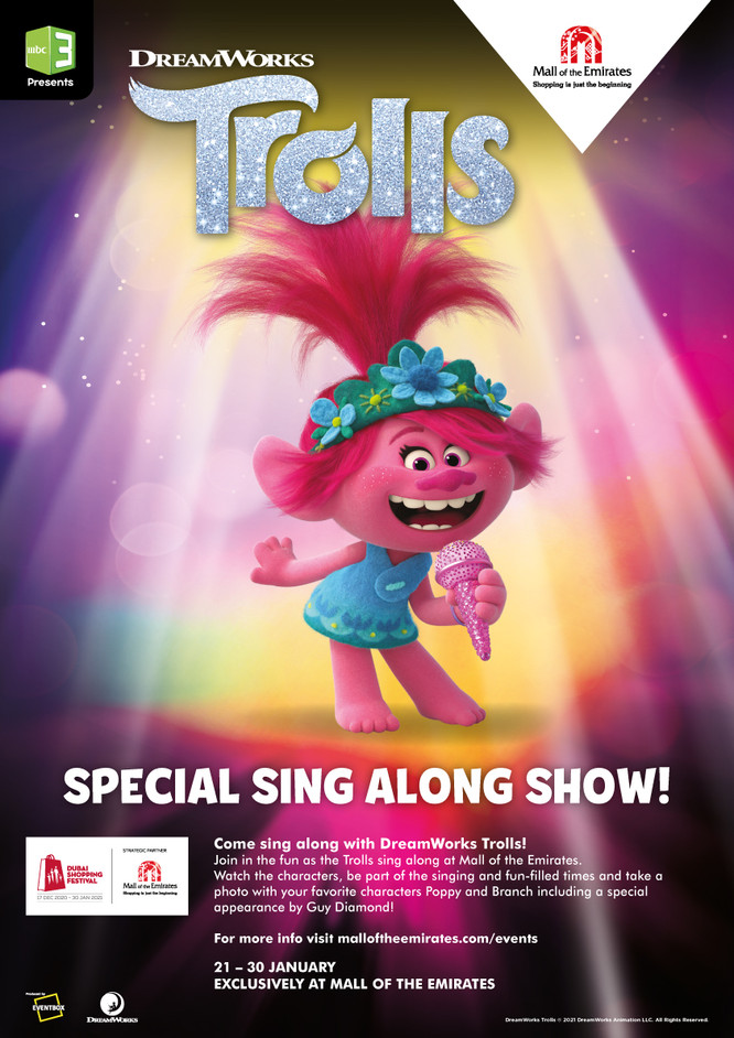 DreamWorks Trolls sing along show at Mall of the Emirates