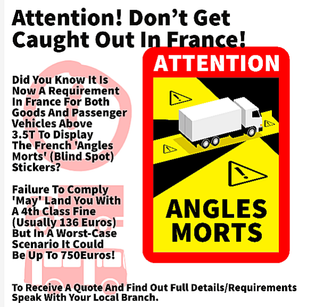 Angles Morts stickers - contact your local branch for further information