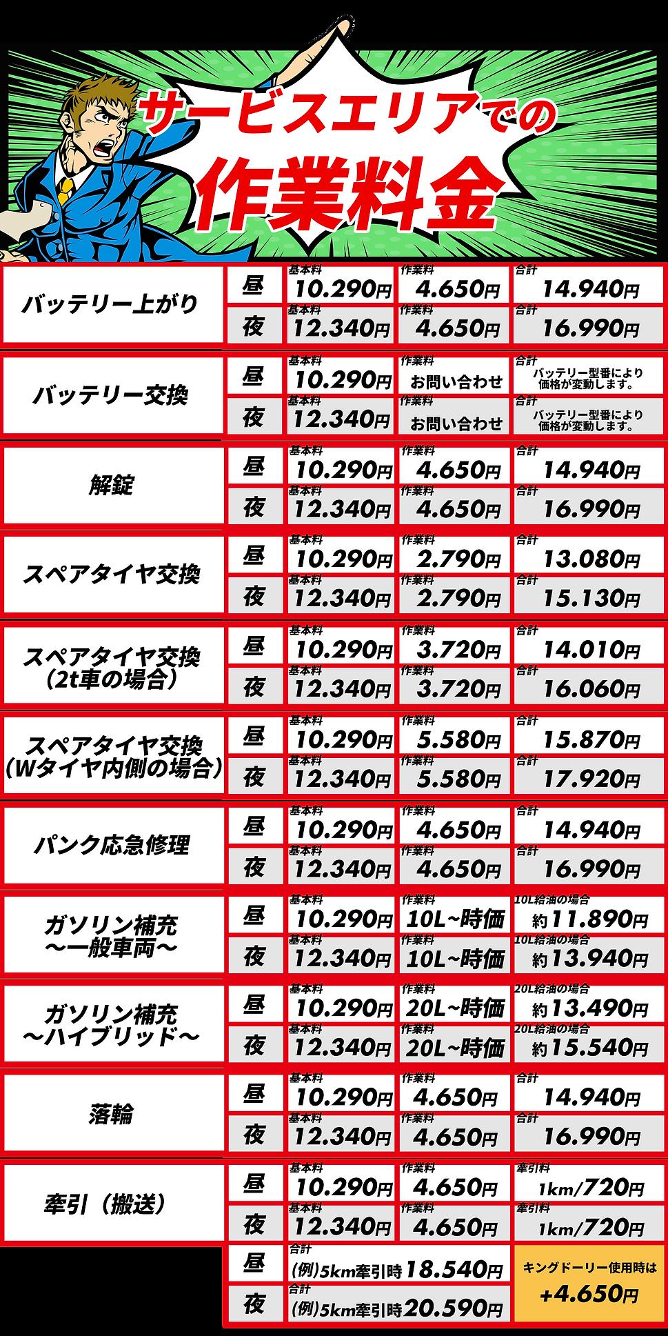 沖縄全域 レッカー&ロードサービス 料金表