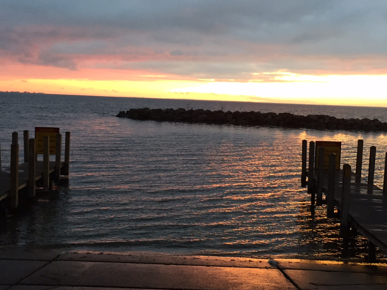 Fair Haven boat launch ramp sunset