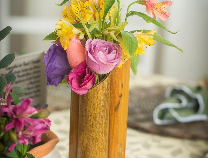 Vaso de Bamboo médio porta-lápis/porta talheres