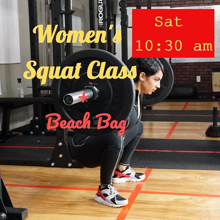 Women's Squat Class + Beach Bag