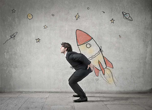 An image of a business man with a jet pack.
